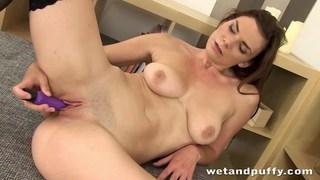 Pretty brunette enjoys anal play before masturbati