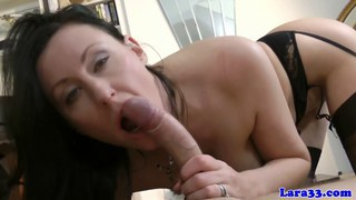 Euro mature in lingerie gets cum on ass after sex Thumbnail