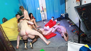 Hot group sex at fancy-dress party