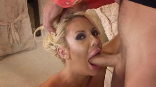Nasty bitch Courtney Taylor does a messy deepthroat blowjob