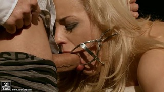 Blonde chick getting tortured by her master