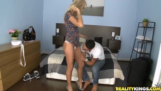 Cute blonde and bf pay for apartment with sex