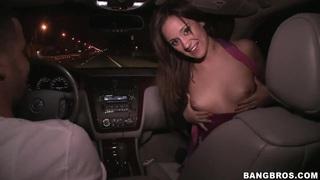 Brunette slut Lynn Love sucks cock in moving car Thumbnail