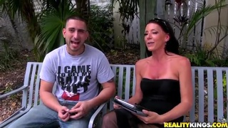 Whorish milf plays with young horny stud outdoor