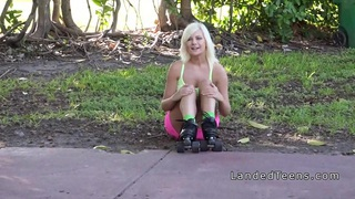Dirty blonde teen banged in the back seat