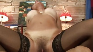 Nasty lady gets her hairy cunt filled with bigcock Thumbnail