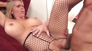 Milf in fishnet gets pleasure right on the bed Thumbnail