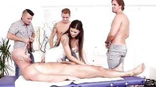 Sexy lady sucking four huge cocks after massage Thumbnail