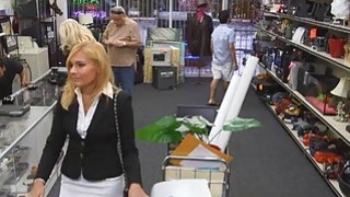 Blonde MILF tries to enjoy Pawnshop owners cock for cash Thumbnail