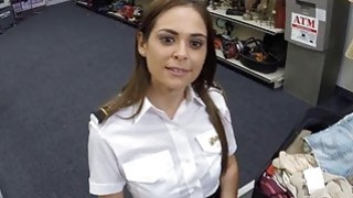 Stewardess sucks and fucked for 200 dollars at the pawnshop Thumbnail