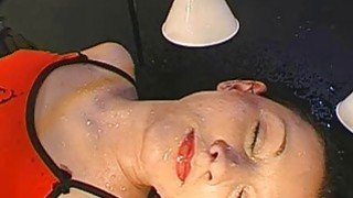 Hot angel gets pissing from studs during filming Thumbnail