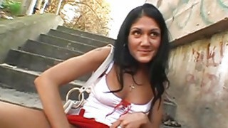 Girl gives moist and tenacious public irrumation