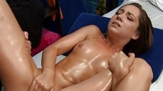 Twat pounding for hottie after a lovely massage Thumbnail