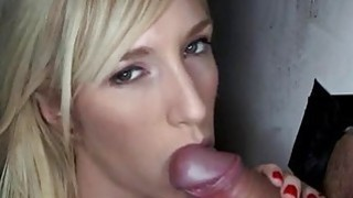 Playgirl is having fun sucking a thick dong Thumbnail