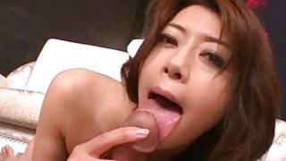 Maki Hojo rides cock and swallows fresh jizz Thumbnail