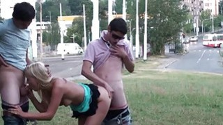 Risky PUBLIC sex with blonde pretty teen orgy gangbang in the middle of street in broad daylight Thumbnail