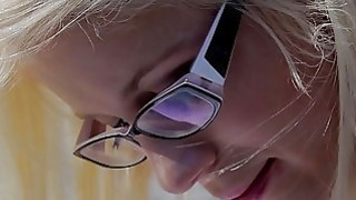 She Is Nerdy - Cumshot on glasses makes nerdy gal happy Thumbnail