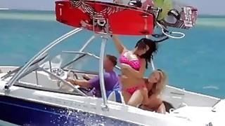 Curvy badass babes enjoyed kite surfing while all naked Thumbnail