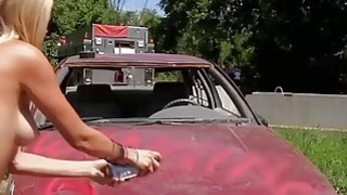 Demolition derby with sexy badass babes and gun shooting Thumbnail