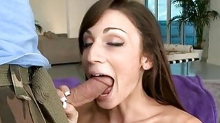 Cute darling is stuffing a ramrod in her face hole Thumbnail