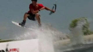 Beautiful babes try out wake boarding while all naked Thumbnail