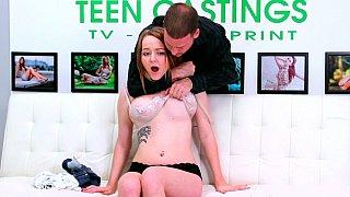 Big tits babe surprised at his huge deep fucking cock Thumbnail