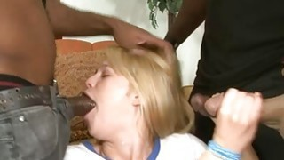 Blonde slut fucked in pussy and asshole by black boners