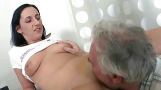 Young chick enjoys old jock in mouth and pussy Thumbnail