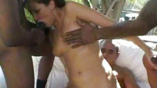 White Girl Fucks Gang of Black Men interracial Thumbnail