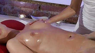 Blonde masseuse fucking hot brunette customer Thumbnail