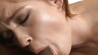Naughty babe pounded by big black cocks on the couch