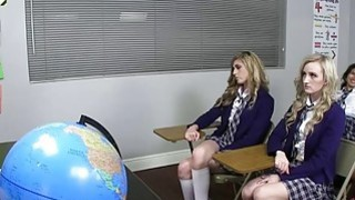 Blonde college teen fucked doggystyle in the detention room Thumbnail