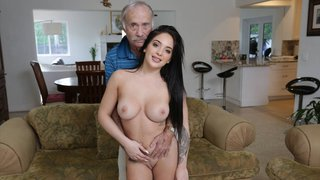 Older timer busting a nut on a beautiful young chick Thumbnail