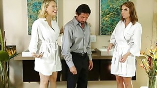 Two huge tits masseuses fucked by the an older client Thumbnail