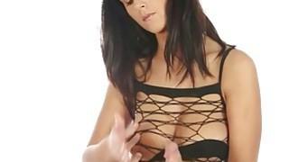 Busty brunette masseuse masturbates cock under the table Thumbnail