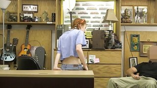 Skinny redhead babe nailed by pawn dude at the pawnshop Thumbnail