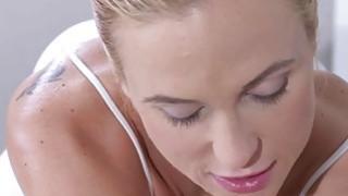 Blonde masseuse fucks big cock till orgasm Thumbnail
