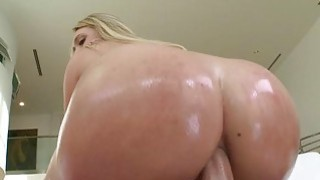 Hot blonde fucked in her twat and butt