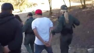 Slutty girls are having wild threesome with border patrol agent who fucks them hard