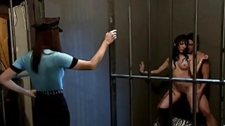 Sexy women foursome sex in the jail cell Thumbnail