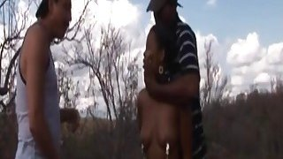 Rough outdoor fucking with an African slut and big cocked studs