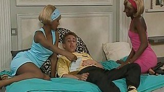 Couple of horny black bitches suck white dick and get their chocolate pussies nailed on bed Thumbnail