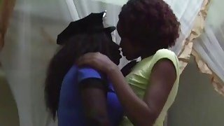 A very hot ebony police woman gets her sweet pussy licked by her lesbian partner Thumbnail