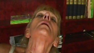 Slutty blonde mature woman rubs her hairy pussy before takes hard cock inside Thumbnail