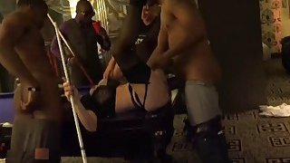 A very hot busty blonde MILF gets every hole fucked by horny black studs Thumbnail