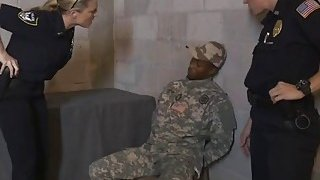 Three horny police officers suck and fuck with a black cocked solider Thumbnail