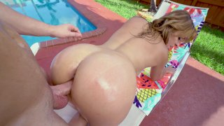 Latina MILF Jazmyn gets doggystyled on the sunbed