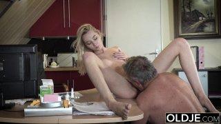 Young Old porn Martha gives grandpa a sloppy blow Thumbnail