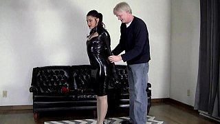 Latex bondage video with a brunette Thumbnail