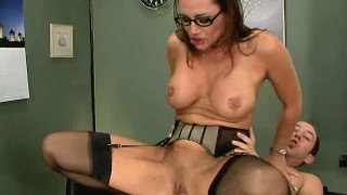 Foxy brunette Sky Taylor rubs her clit with big meaty cock. Thumbnail